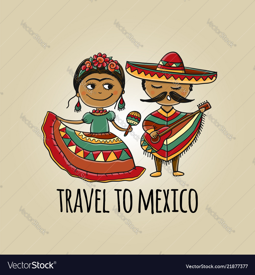 Mexican people in national costumes sketch for