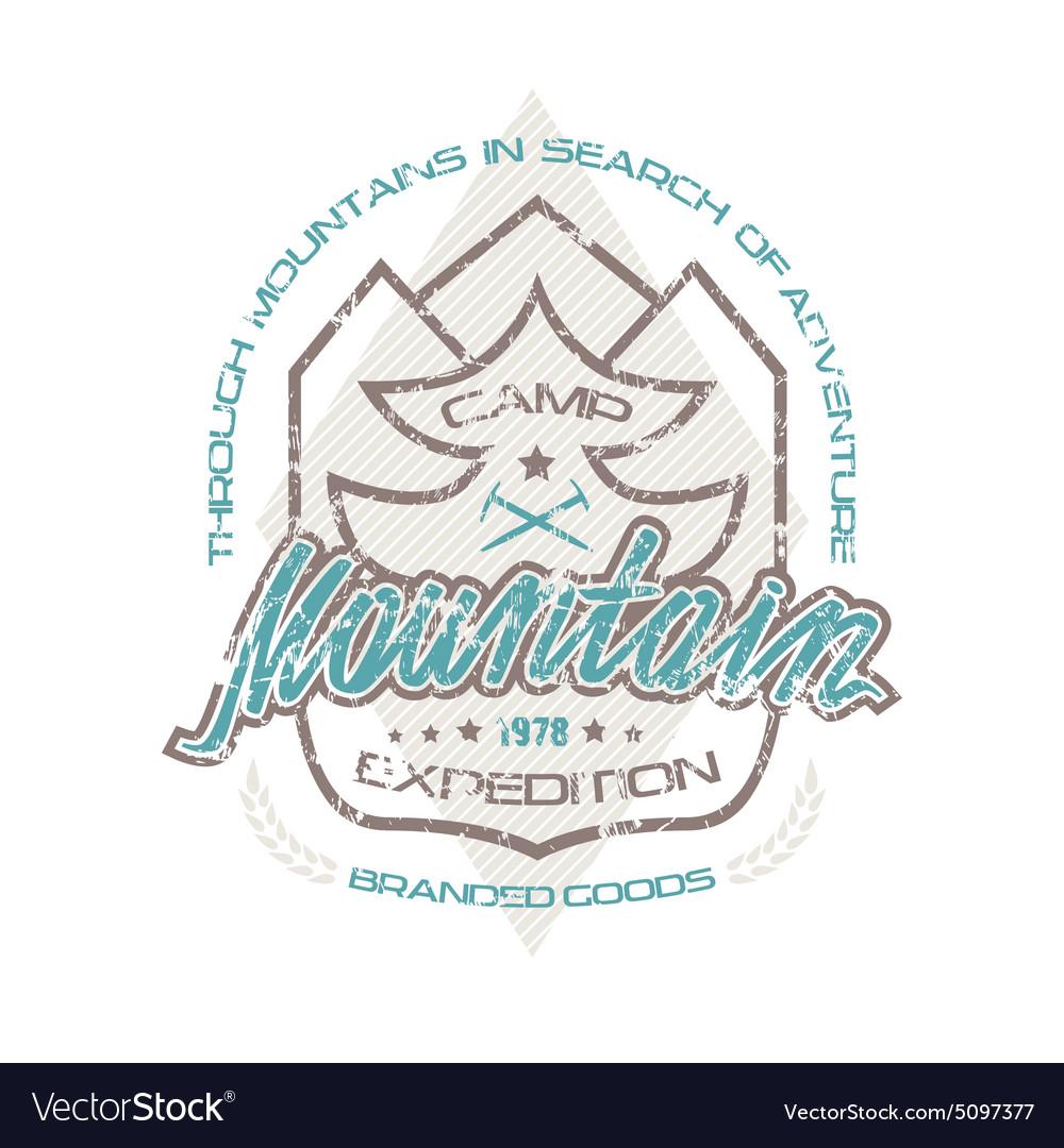 Mountain camp emblems for t shirt