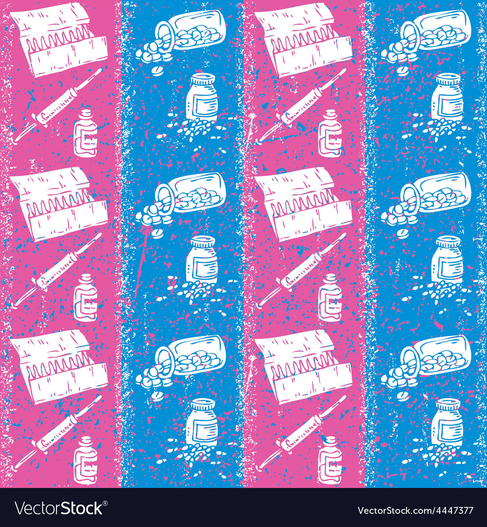 Pills Capsules and Syringes Seamless Pattern