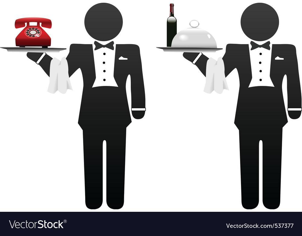 Room service waiter vector image