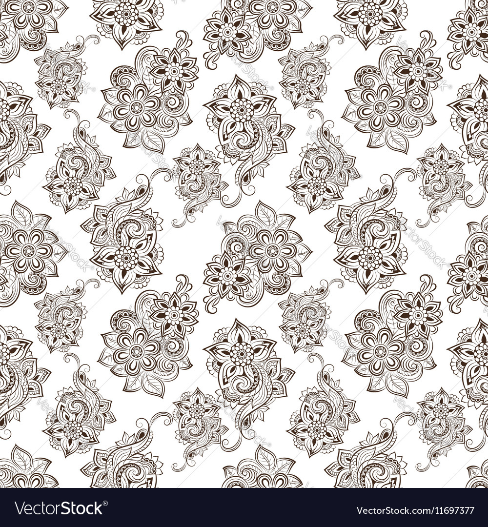 Seamless pattern with floral doodle elements