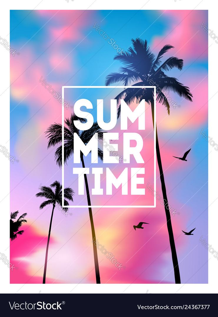 Summer tropical background with palms sky and vector
