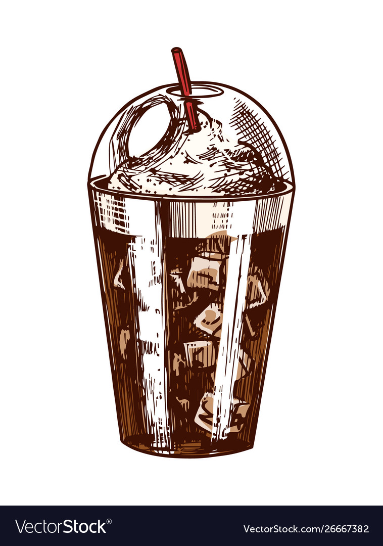 A glass ice coffee in vintage style hand drawn