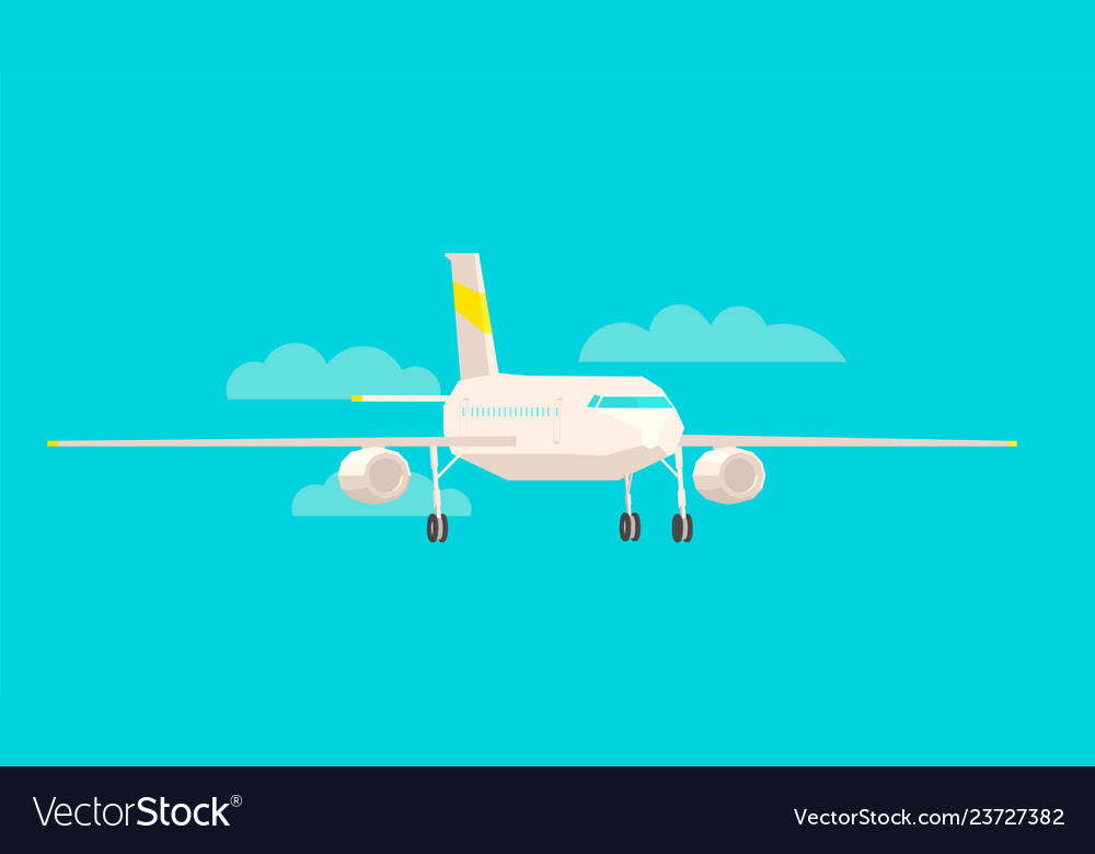 Airplane front view on a blue background flat