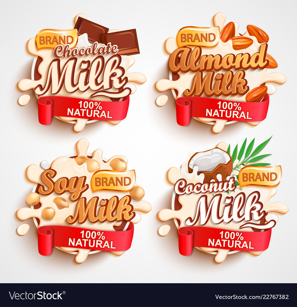 Almond chocolate soy coconut milk labels