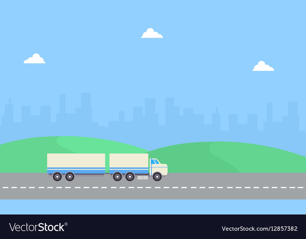 Beauty landscape container truck of flat vector image