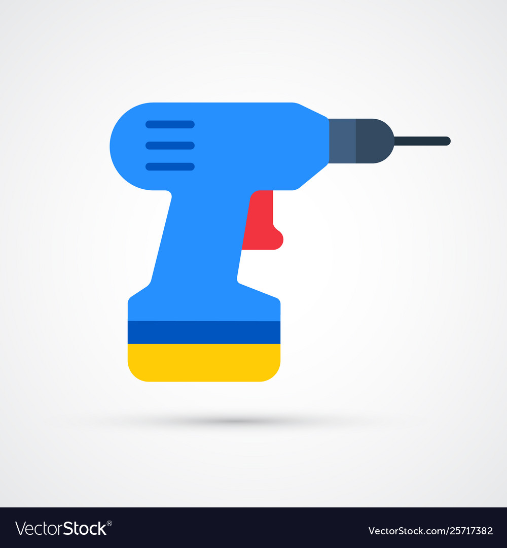 Colored electric screwdriver trendy symbol