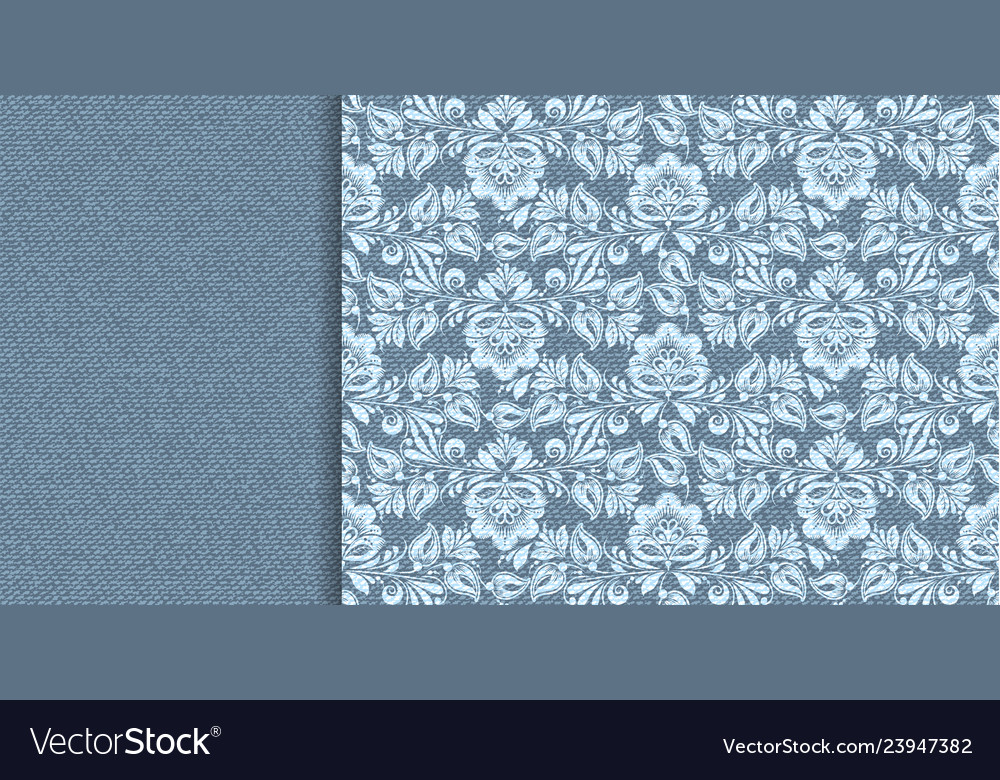 Denim floral lace in indigo abstract style