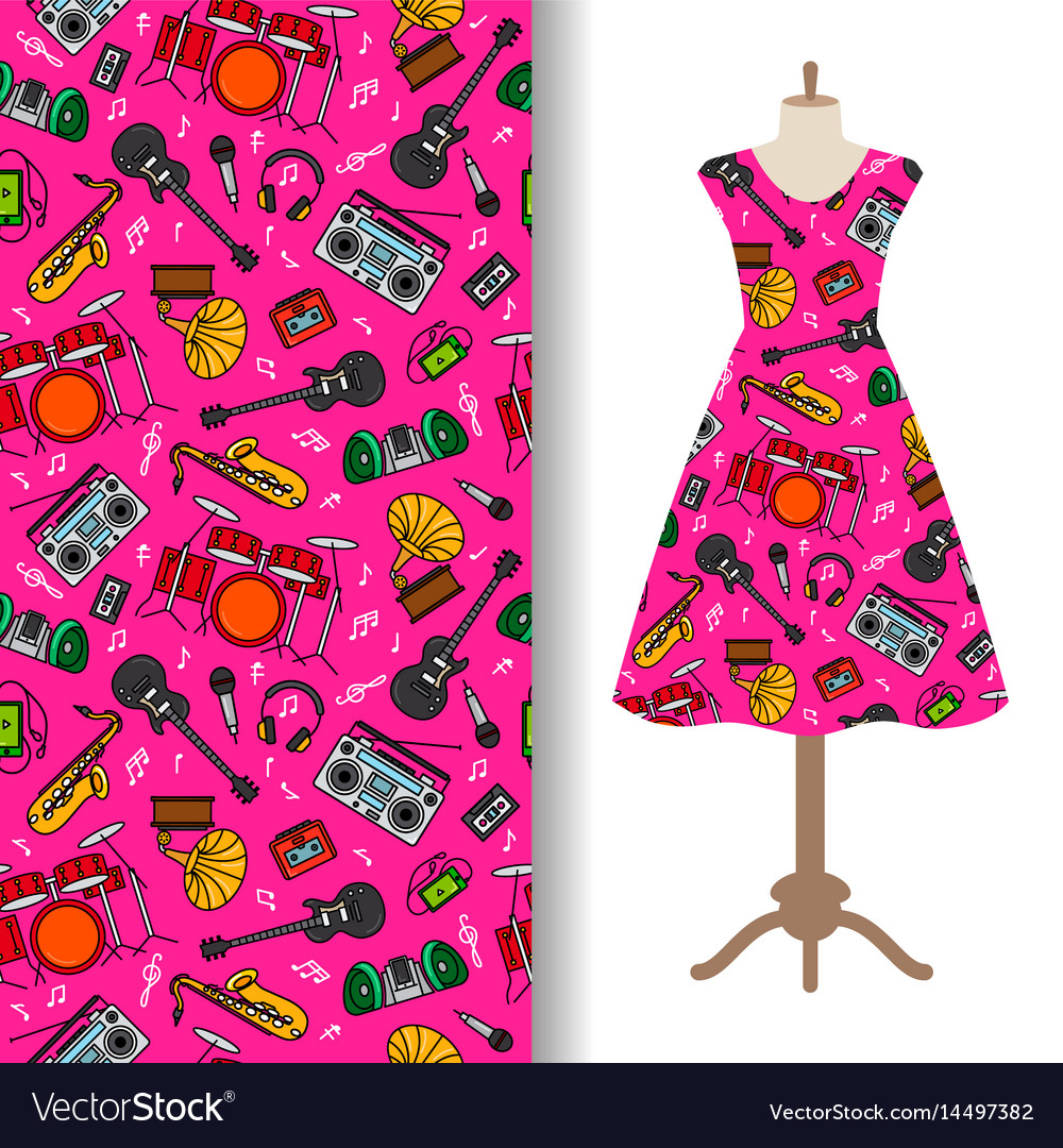 Dress fabric pattern with music instruments vector image