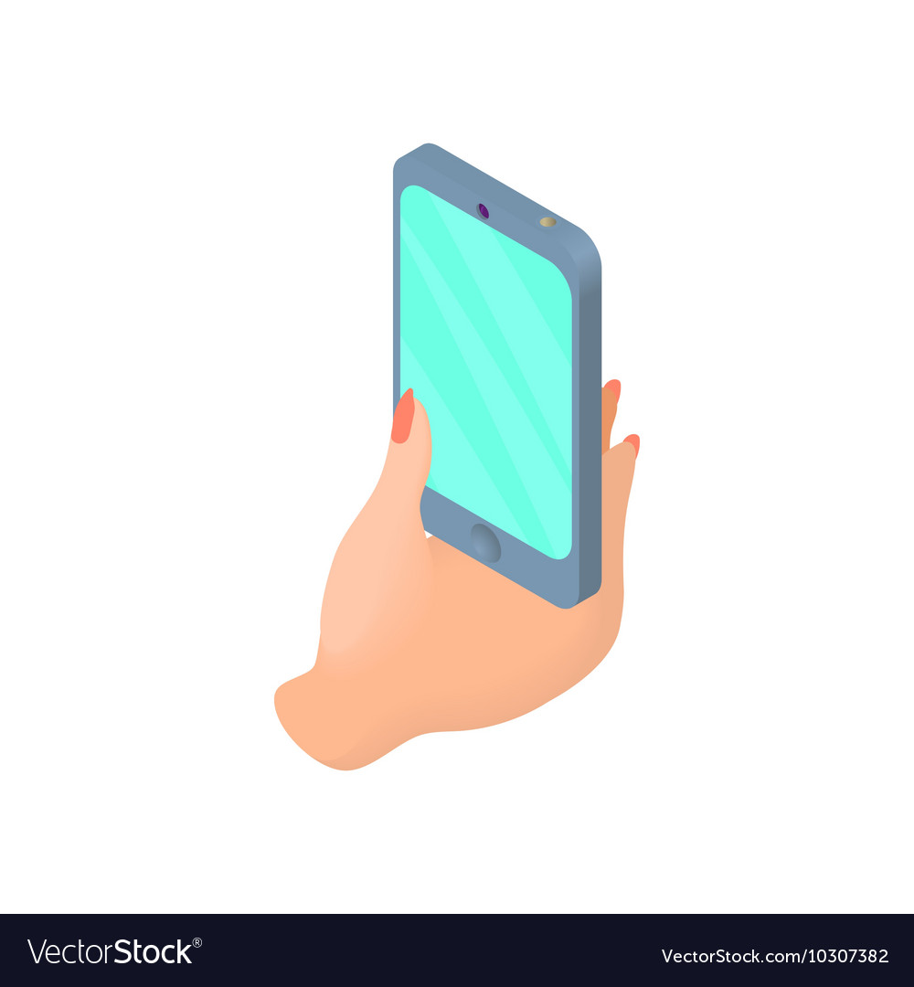 Female Hand Holding Cell Phone Icon Cartoon Style Vector Image