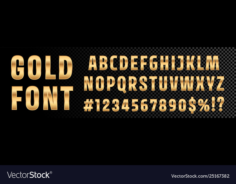 Gold font numbers and letters alphabet typography