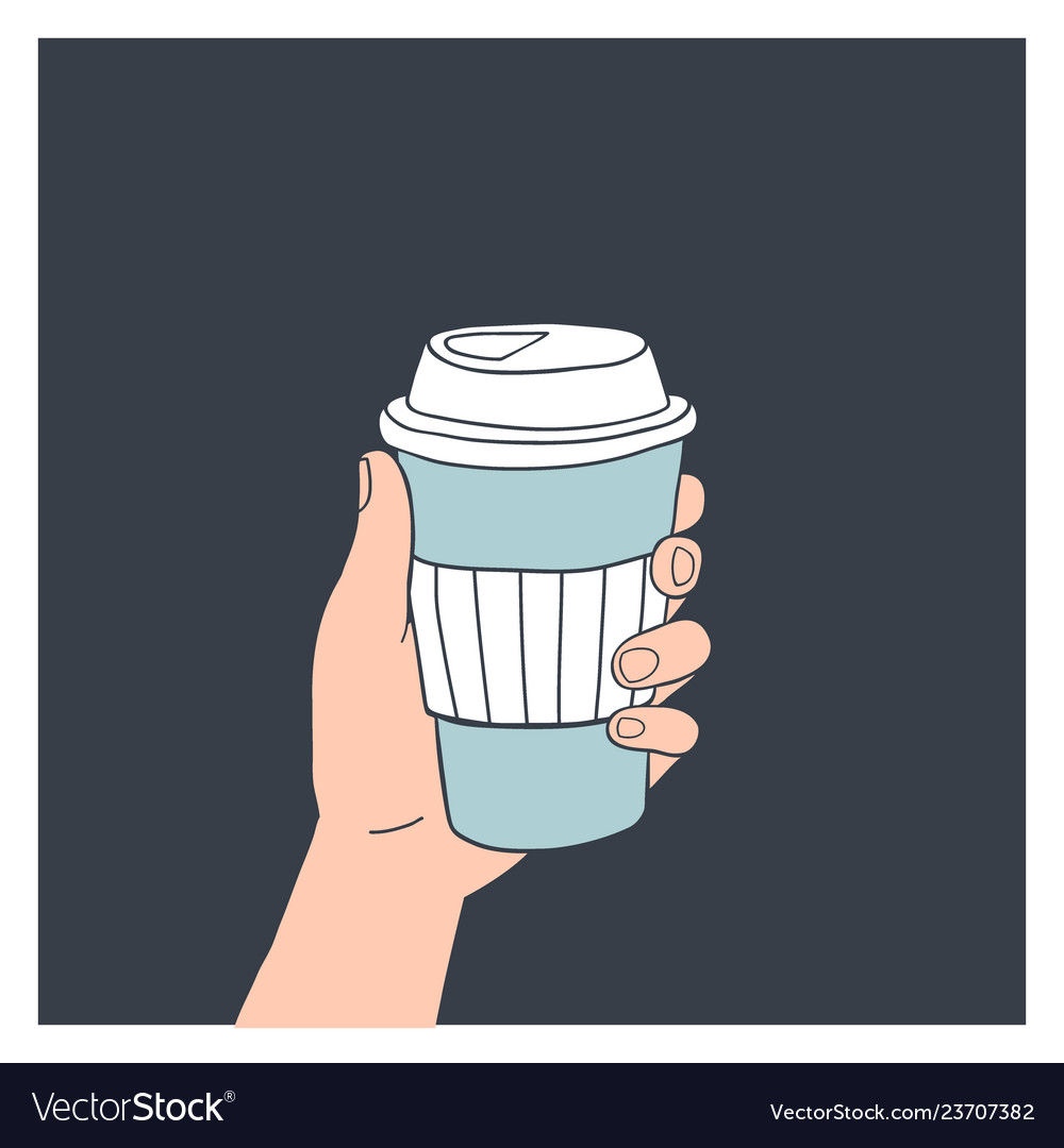 Hand holding reusable coffee cup