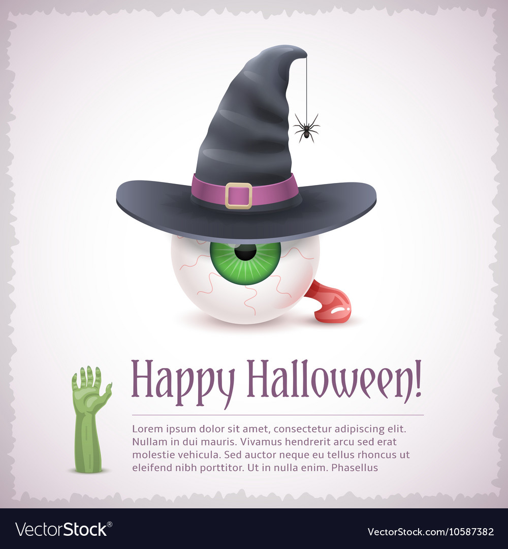 Happy Halloween card with a witch eye in hat