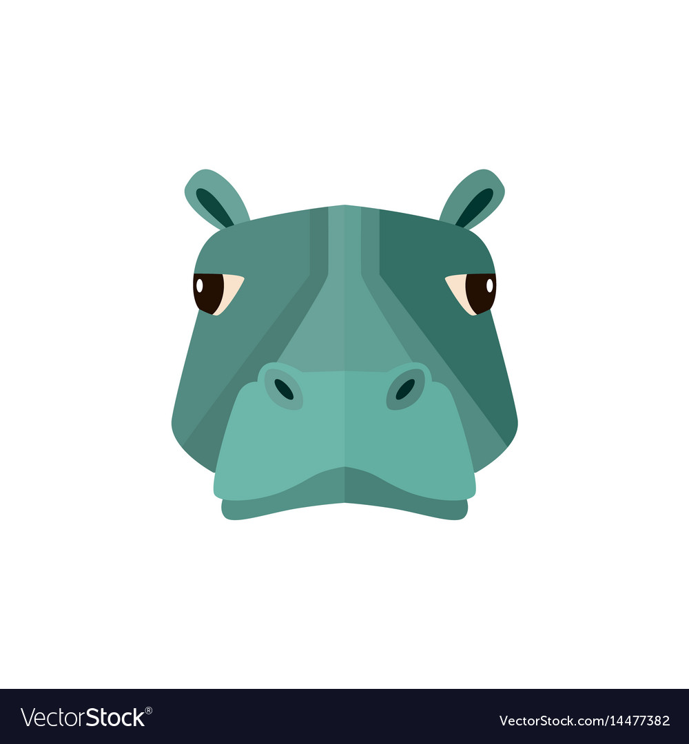 Hippo head icon in flat design