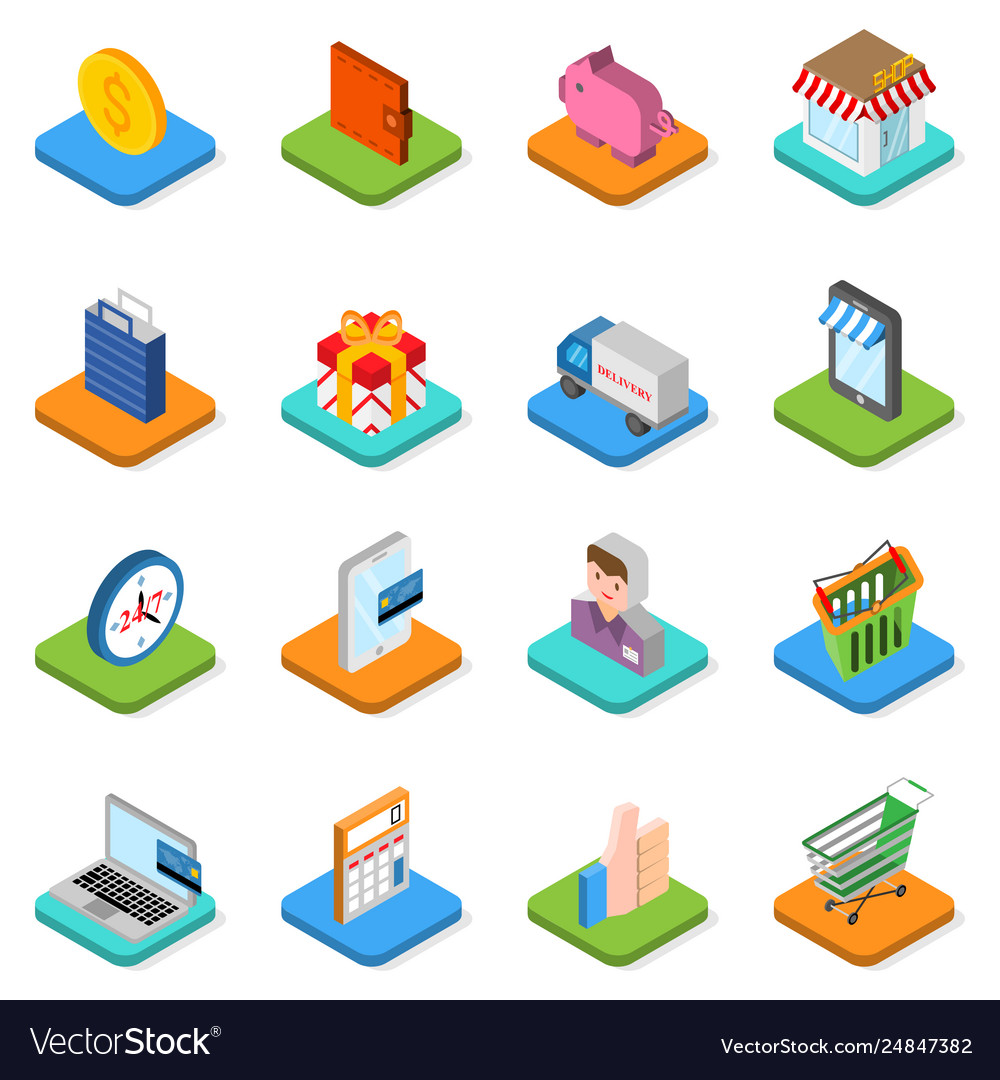 Isometric shopping icon set 3d symbols