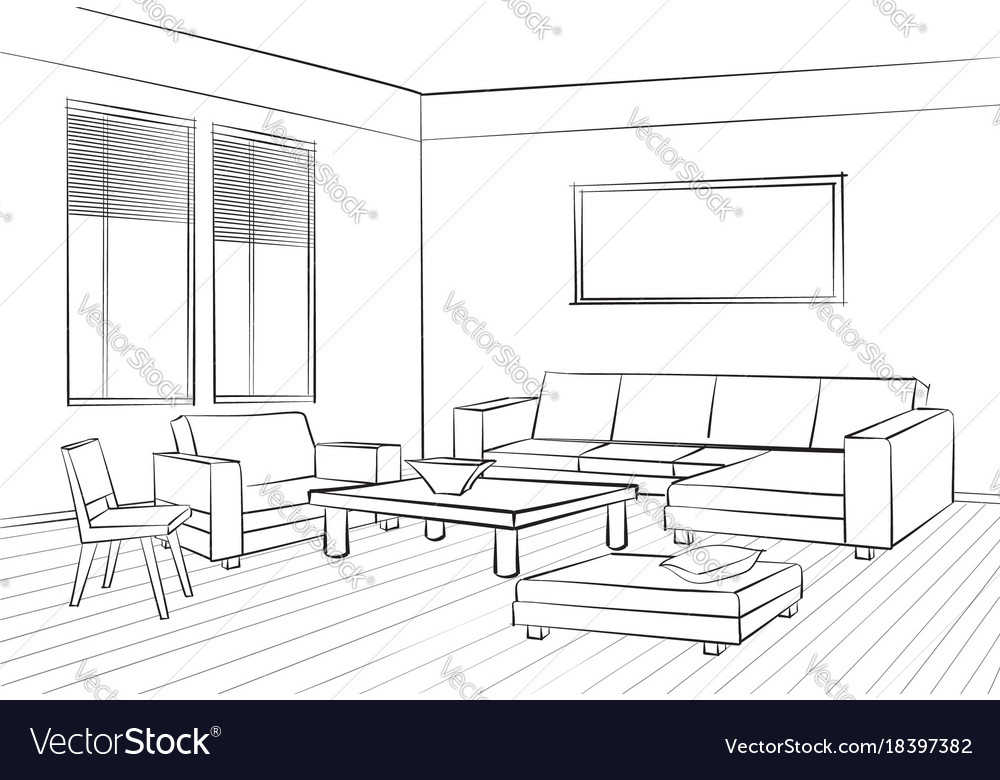 Living Room Interior Sketch Furniture Set Sofa Vector Image