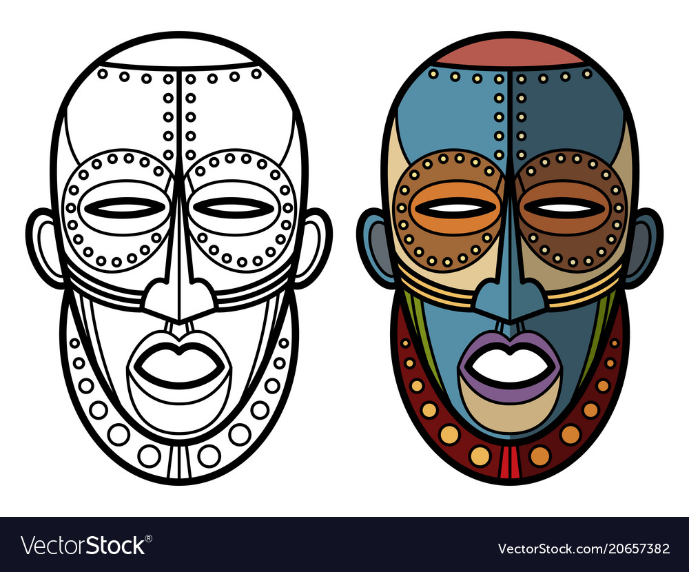 mexican indian aztec masks coloring page vector image