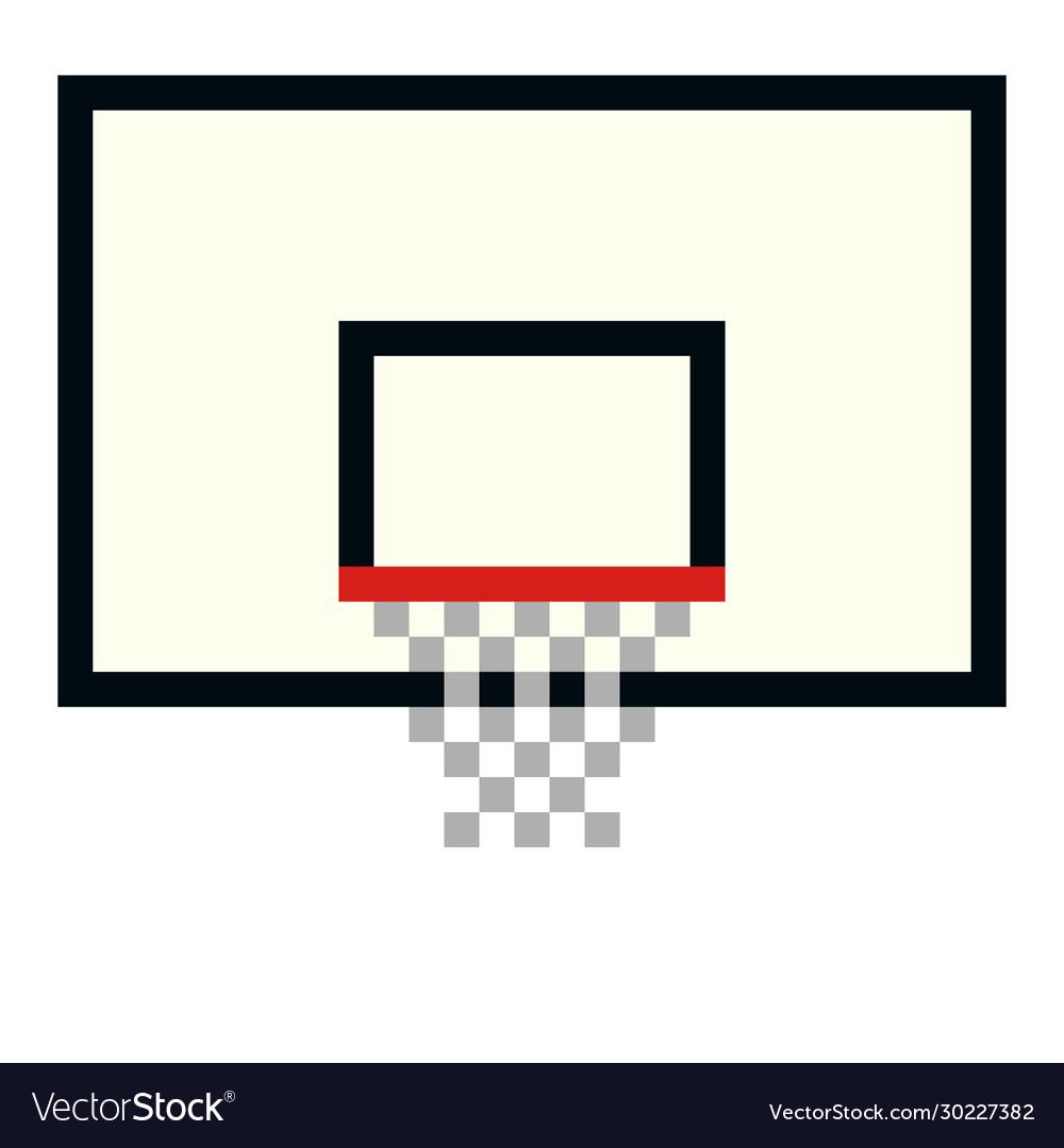 Pixel basketball basket hoop art cartoon
