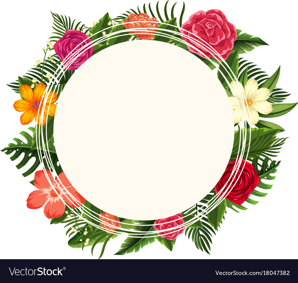 Round Frame With Different Types Of Flowers Vector Image