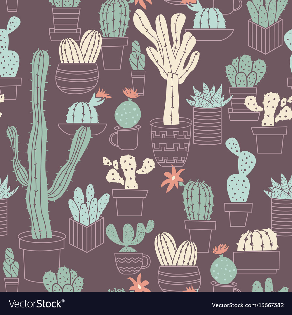Seamless pattern of cute potted cactuses