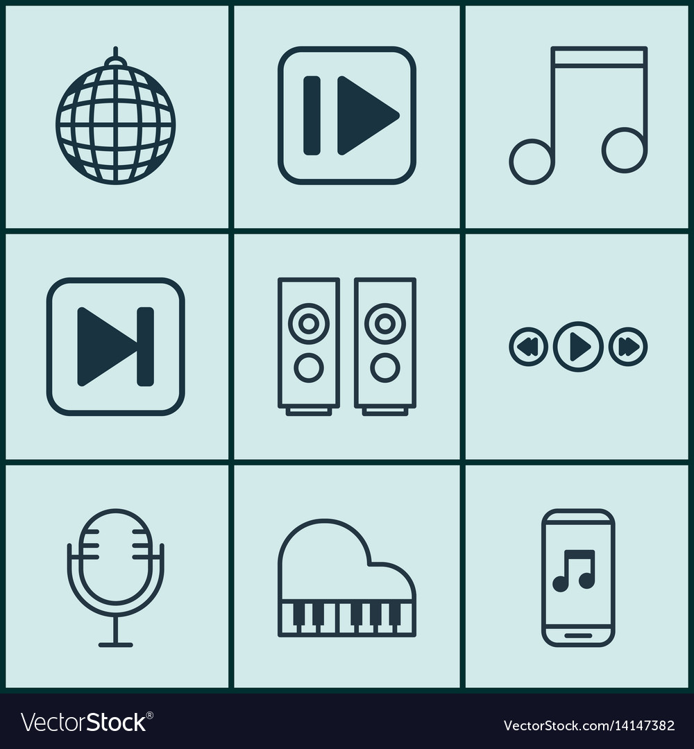 Set of 9 audio icons includes skip song vector image