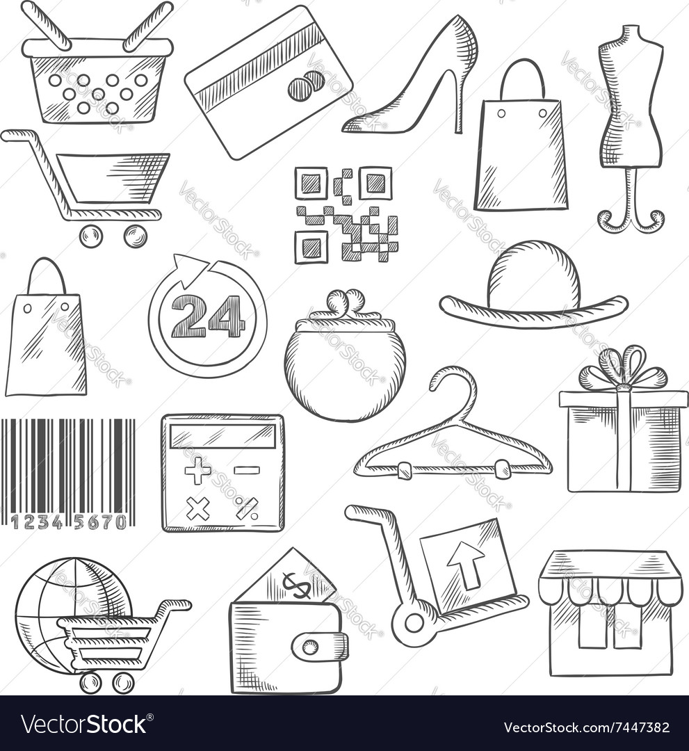 Shopping business and commerce sketch icons
