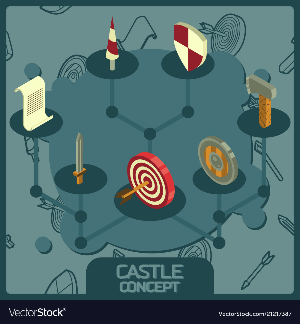 Castle color concept isometric icons