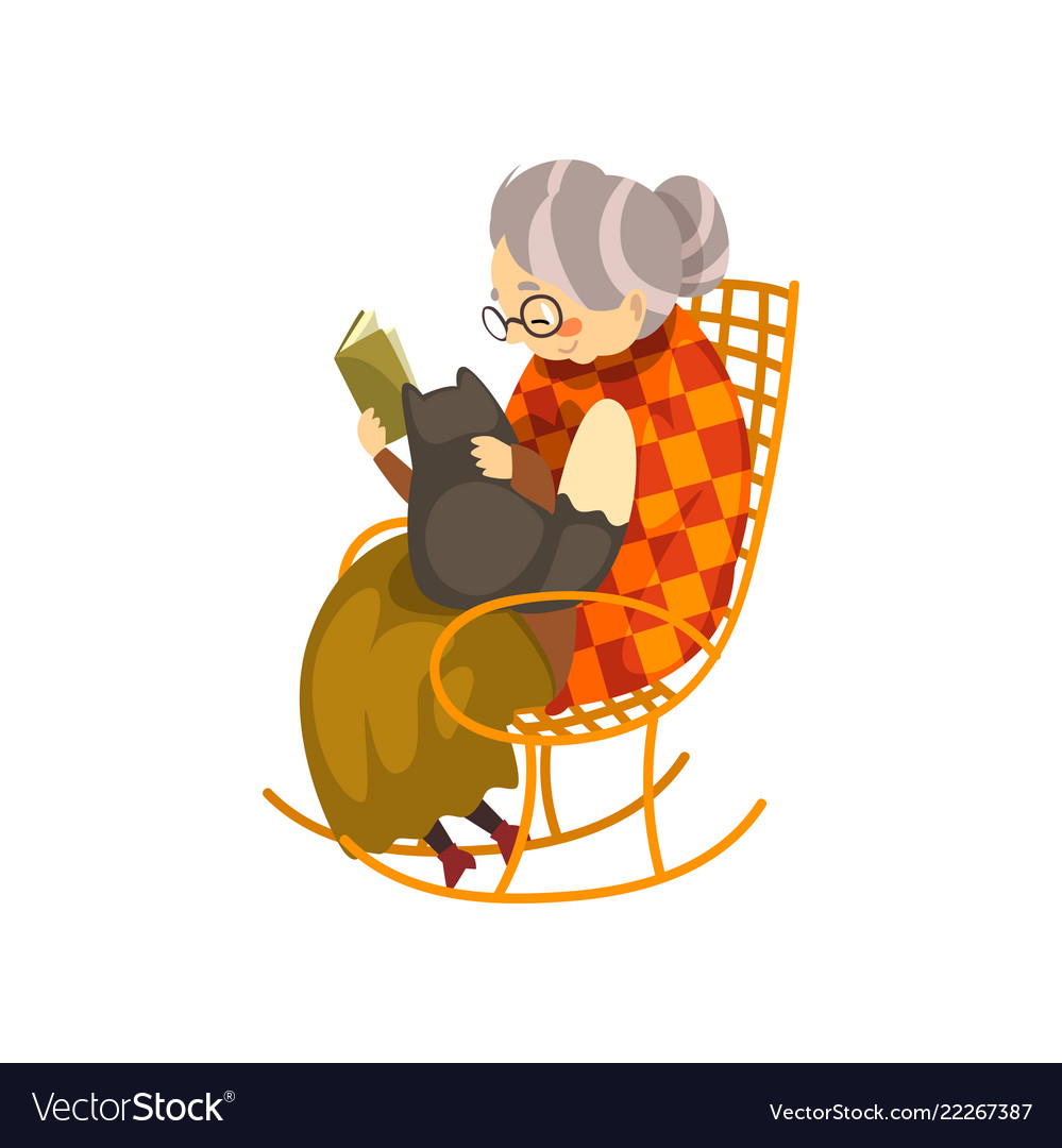 on sale 3ecb8 b7bb2 Cute granny sitting in a cozy rocking chair and