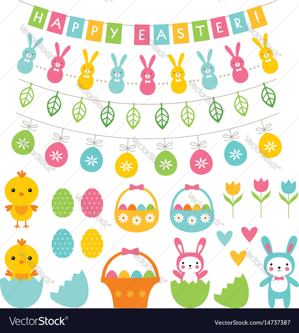 Easter decoration and cartoons set