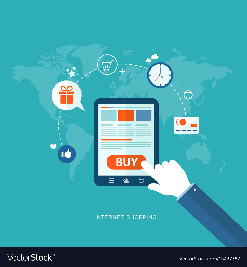 Flat design with icons internet shopping