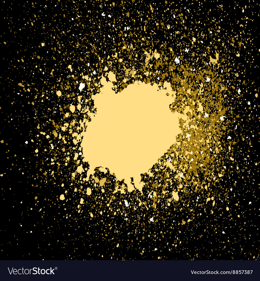 Gold paint splash splatter and blob on black