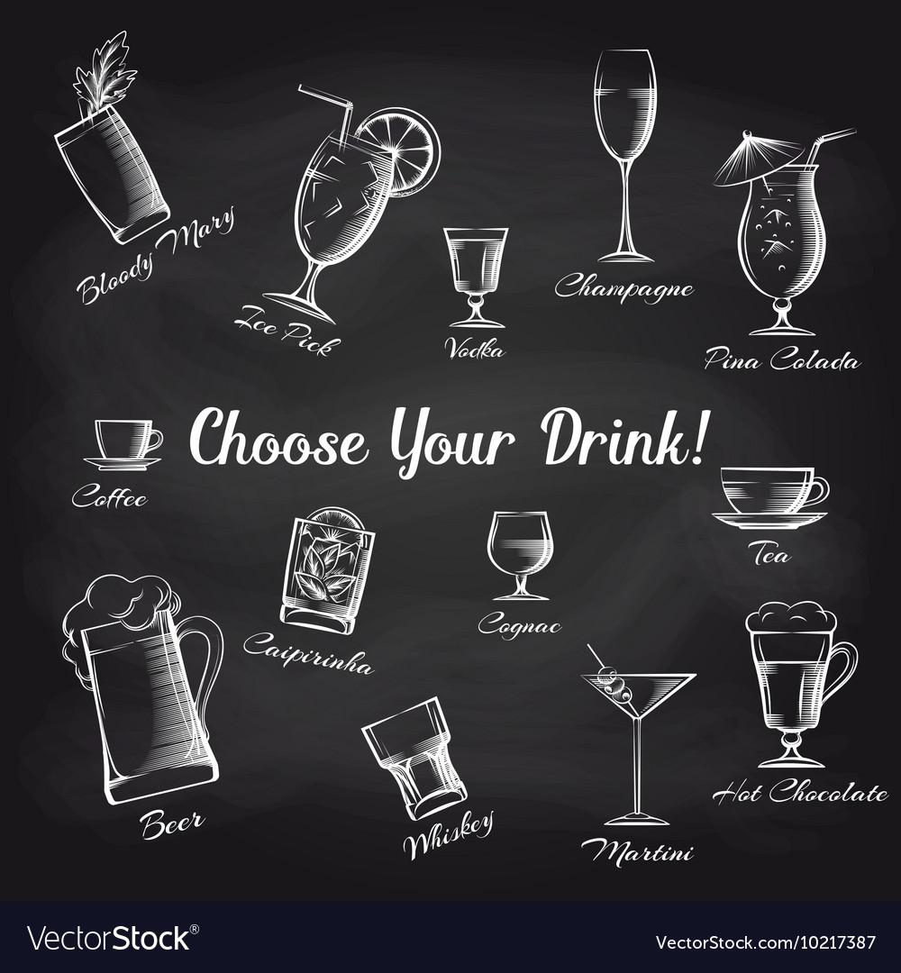 Hand drawn cocktails set on chalkboard