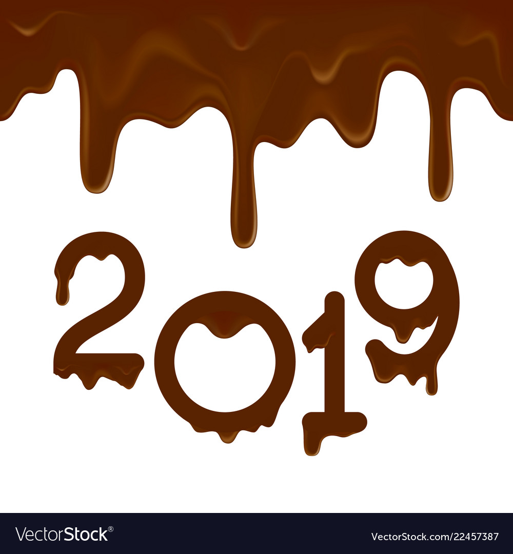 happy new year 2019 banner with chocolate drips vector image