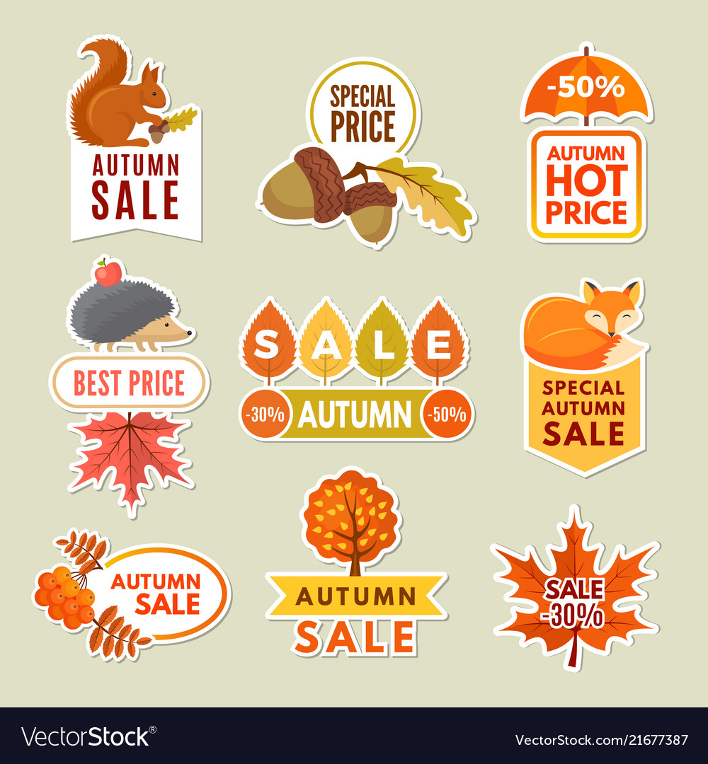 Labels and badges of autumn discount stickers of