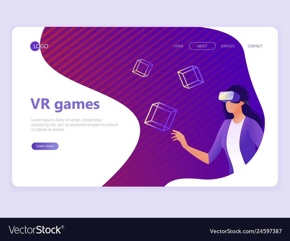 Landing page template vr gaming video gaming