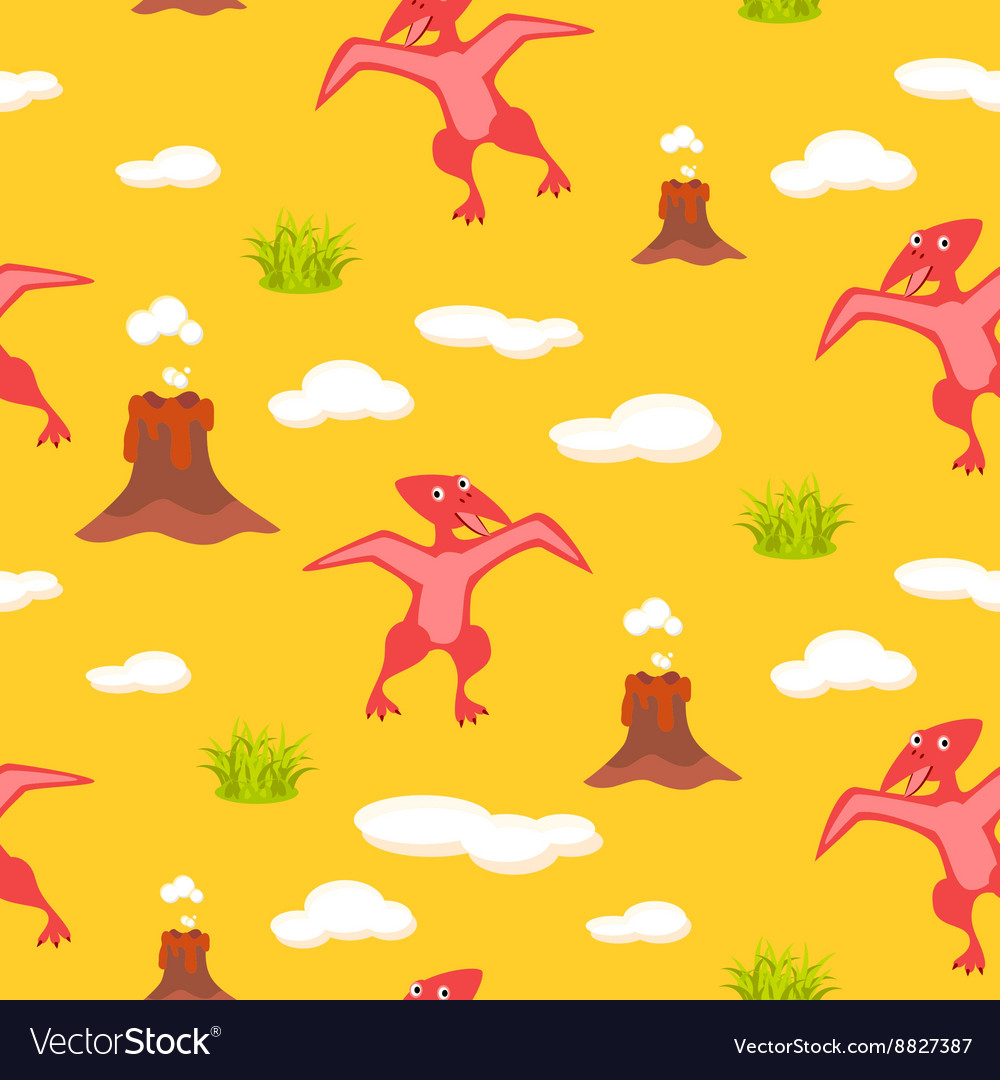 Pterodactyl kid seamless pattern for