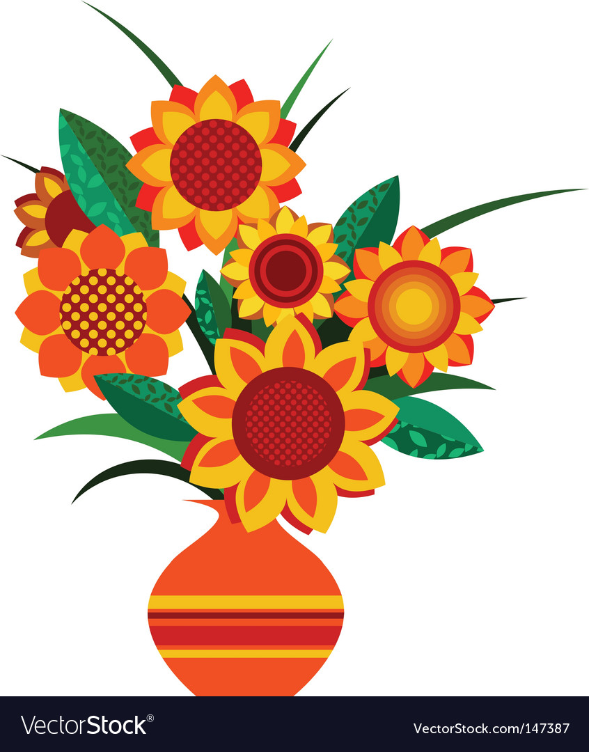Retro colourful vase with sunflowers Royalty Free Vector