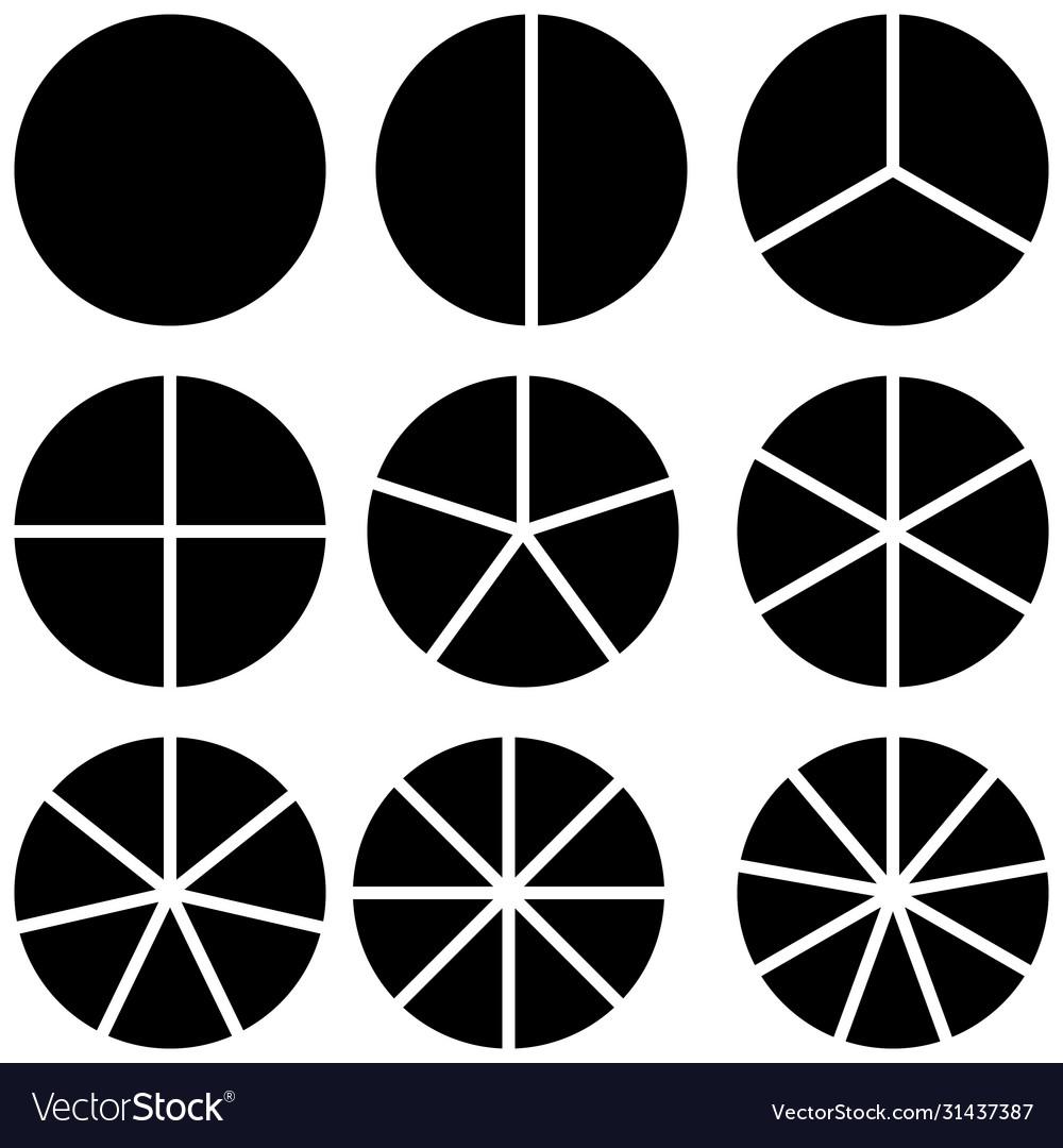 Set infographic icons circles divided radius