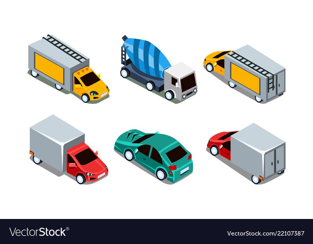 Set of different isometric automobiles