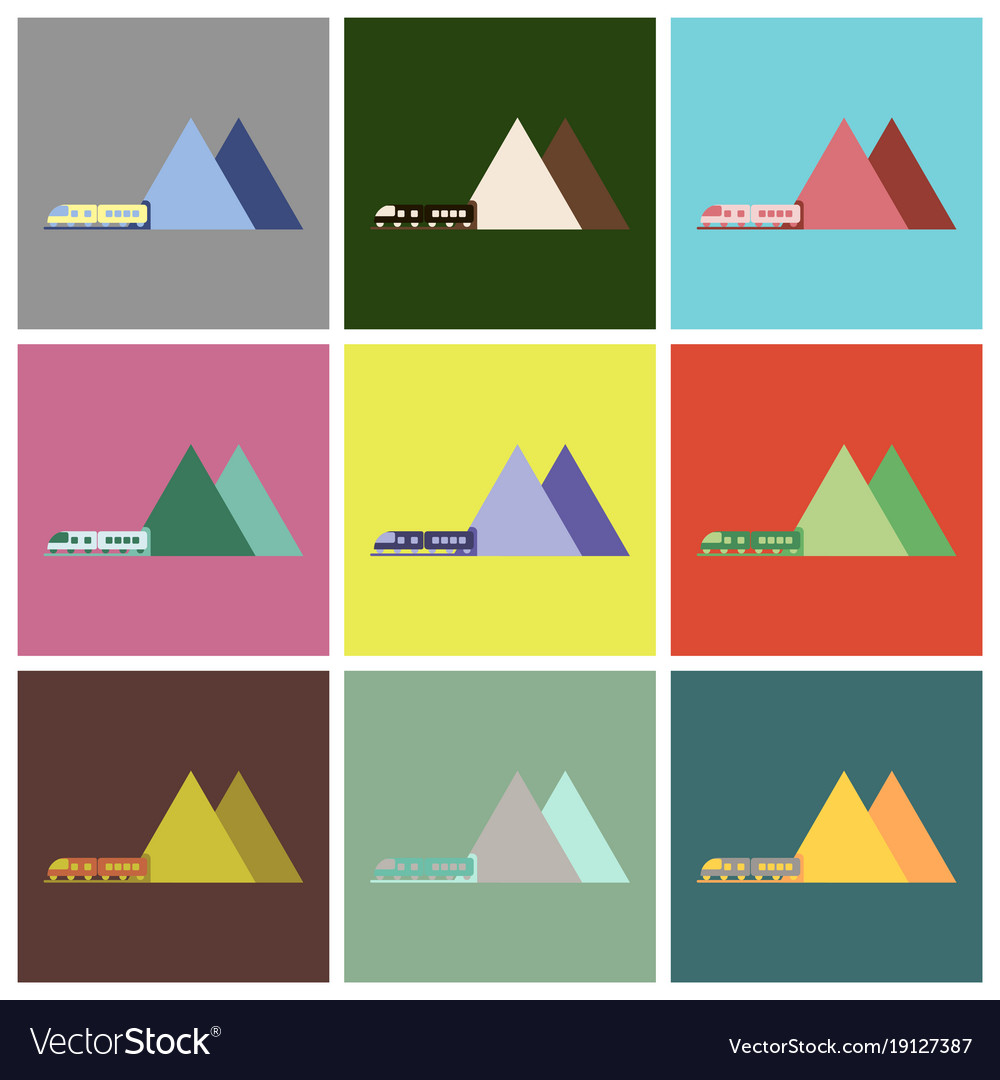 Set Of Icons In Flat Design Mountain Train Vector Image