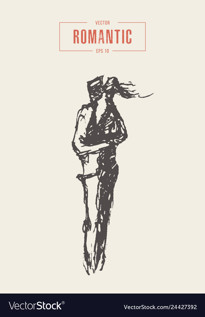 A loving couple in paris hand drawn sketch
