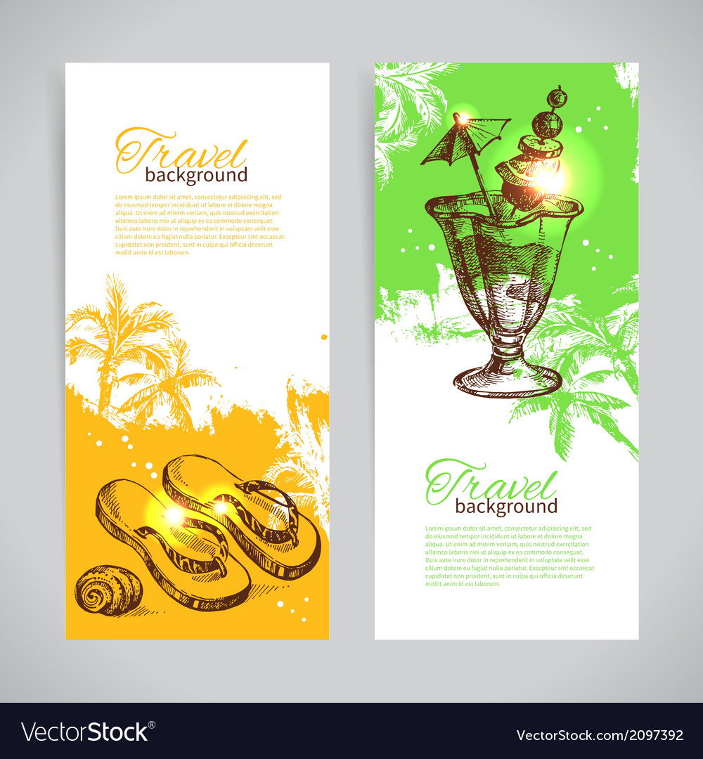 Banner set of travel colorful tropical banners