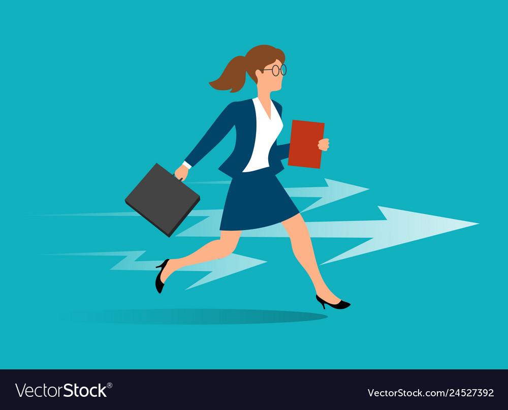 Business woman running