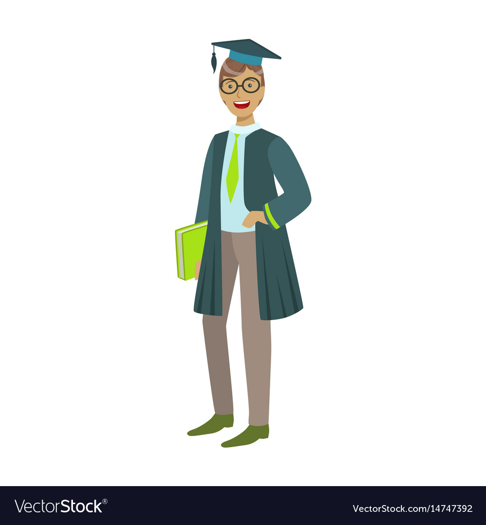 Cheerful graduate guy student in mantle with green vector image