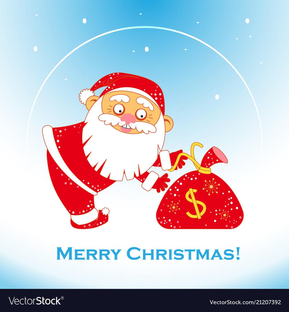 Christmas santa claus with bag of money