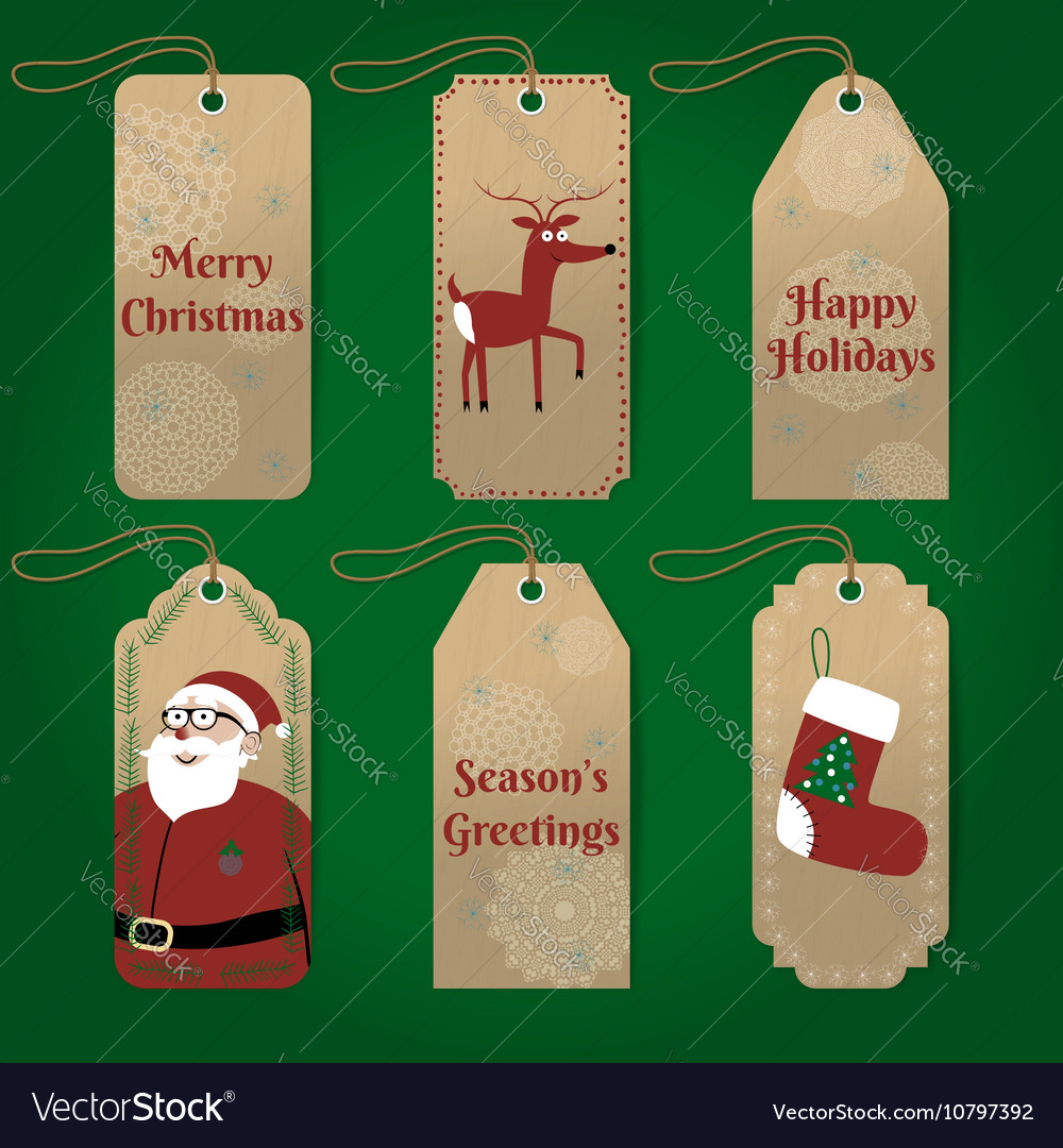 Collection of cute christmas gift tags with