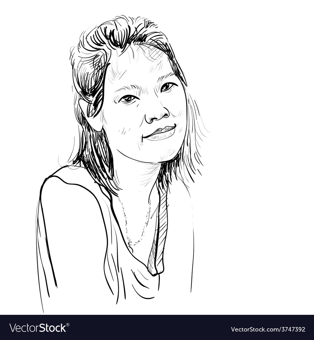 Drawing sketch of asian girl portrait
