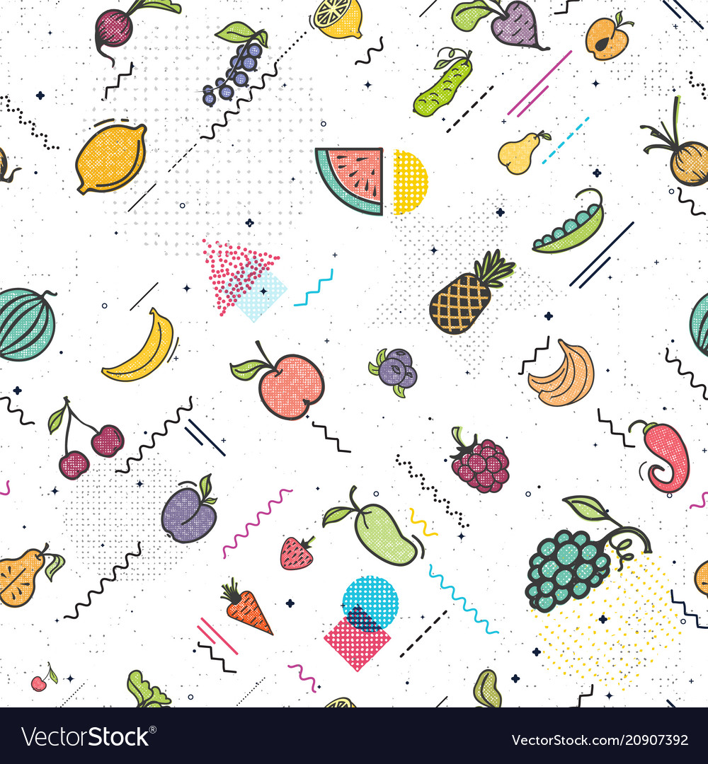 Fruits and vegetables seamless pattern memphis