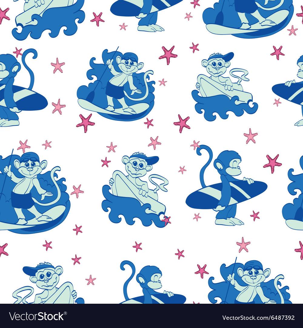 Fun Surfing Monkeys Starfish Seamless