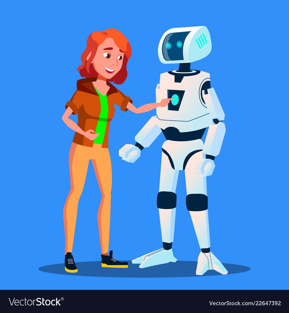 Girl launching control panel of smart home robot